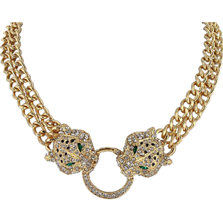 SALE VINTAGE 18K Gold GP Panther Head linked Necklace with Clear Austrian Crystal
