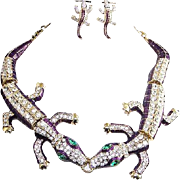 SOLD VINTAGE Huge two alligator necklace and stud earrings with rhinestones and aubergine enam