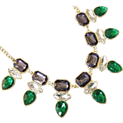 SALE VINTAGE Deco inspired necklace smoke blue and emerald rhinestone with Clear stones in Gol