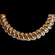 SALE VINTAGE NAPIER signed domed Gold tone linked necklace