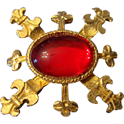 SALE VINTAGE Maltese cross gold tone pin with red jelly belly