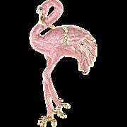 SALE VINTAGE Pearlescent Pink Enamel pin/brooch hand Painted Flamingo Bird
