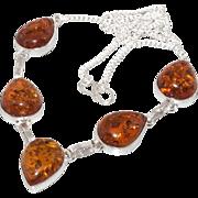SALE VINTAGE Sterling silver pressed Amber tear drop dangle necklace