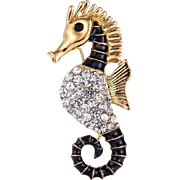 SALE VINTAGE gold tone seahorse pin with pave rhinestones and black enamel
