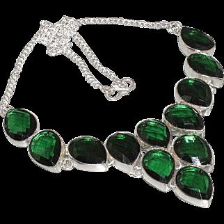 SALE VINTAGE truly beautiful Emerald green quartz bib necklace in 925 sterling silver