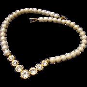SALE VINTAGE signed Napier Cream simulated 8mm pearls with bezel set rhinestones