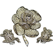 Boucher Pave Rhinestone Rose Pin Earrings Set