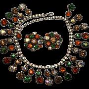 Vibrant Vendome Autumn Coloured Bib Necklace Earrings Set