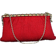 Red Beaded Jeweled Frame Evening Bag Purse