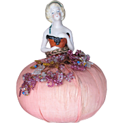 Book Piece Vintage German Pincushion Doll Beaded Trim