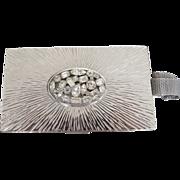 Evans Starburst Rhinestone Compact Purse Minaudière Carry All Bk Pc Bridal