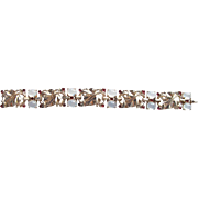 Trifari Sterling Vermeil Alfred Philippe Moonstone Faux Ruby Rhinestone Leaf Bracelet