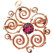 SALE Genuine Ruby Pin in 14k Yellow Gold ~ circa 1930's