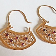 Filigree Fan Shaped Genuine Garnet Earrings ~ circa 1940's