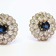 Diamond & Sapphire Earrings in 18k White /Yellow Gold  ~ circa 1940's