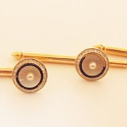 Mother of Pearl Tux Studs in 14k Yellow Gold & Platinum