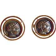 Roman Head Cuff Links in 18k Yellow Gold and Silver ~ circa 1970's