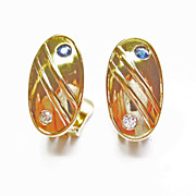 14k Yellow Gold Sapphire & Diamond Earrings ~ circa 1950's