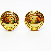 18k Yellow Gold Button Earrings ~ circa late 1960's