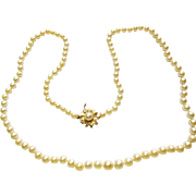 Culture Pearl Necklace with 14k YG Clasp ~ circa 1950's