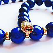 Lapis Lazuli Necklace in 14k Yellow Gold  Accents ~ circa 1970