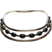 Mexican Silver & Genuine Onyx Omega ~ circa 1960's