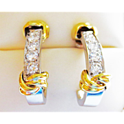 REDUCED 14k Two Toned Gold & Diamond Earrings ~ circa late 1980's