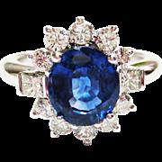Genuine Sapphire & Diamond Ring ~ circa 1980's