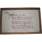"""Vintage hand painted Motto Picture ~ """"To My Son"""" poem, water color"""