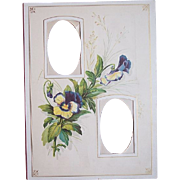 1890's Victorian Double Photo Mat ~ Purple Pansy Flower