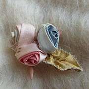 Vintage Ribbon Work Roses Sewing Trim Applique ~ Pastel Flowers