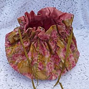REDUCED Early 1900's Large Silk What-Not Sewing Bag Purse ~ Pink Roses