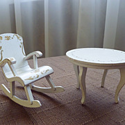 SALE Vintage Doll House Furniture ~ White Painted Table & Rocking Chair