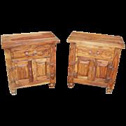 Pair of Teak Double Door Side Tables