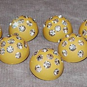 7 Yellow Celluloid and Rhinestone Buttons