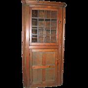 SOLD 19th Century 2-Door Pine Corner Cupboard