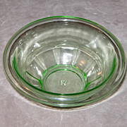 SOLD Hazel Atlas 6 ½ Inch Green Depression glass Rest Well Mixing Bowl