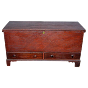 Country Chippendale Two-Drawer Dower/Blanket Chest in Old Red Paint