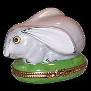 SALE Limoges, France Rochard Hand Painted Porcelain Box w/Figural Rabbit