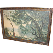 SOLD Ca. 1900s Jean-Baptiste Camille Corot Souvenier of Mortefontaine Framed Print
