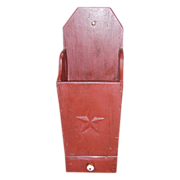 SALE Folky Barn Red Painted Candle Box