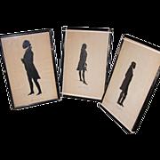 SOLD Three Standing Full Bodied Silhouettes: G. Washington, T. Jefferson & J. Marshal