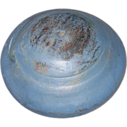 19th Century Hand-Turned Wooden Bowl in Blue & Putty Paint