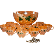 SOLD Anchor Hocking-Fire King 14 Piece Peach Luster w/Ivy Punch Bowl Set