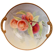 """SALE Limoges Hand Painted """"Peaches on a Branch"""" Charger signed A. Bronssillon"""