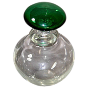 Perfume Bottle/Decanter w/Emerald Green Stopper Top