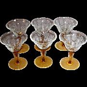 SALE Vintage Etched Glass Stemware