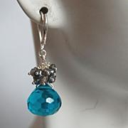 Blue quartz onion briolette and pyrite dangle earrings