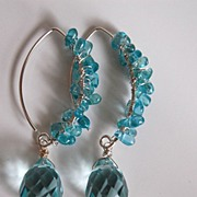SOLD Swiss blue Crystal quartz briolette and Chalcedony chips earrings