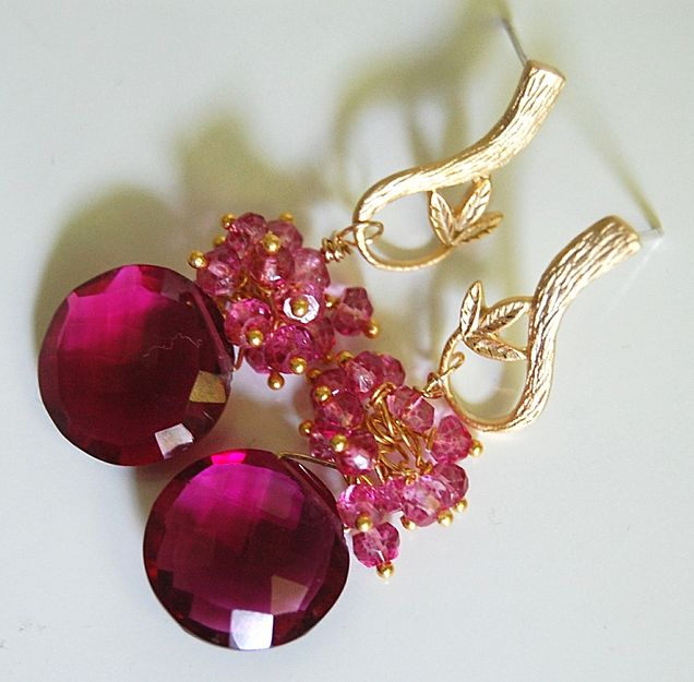 Gorgeous Pomegranate Pink quartz and Mystic Rubelite earrings